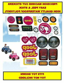Replacement Decals Stickers fits Power Wheels BARBIE JEEP Wr