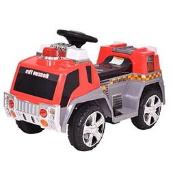 Costzon Kids Ride On Fire Truck 6V Battery Powered Fire Engi