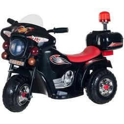 Ride on Toy 3 Wheel Motorcycle Kids Battery Powered Black Bo