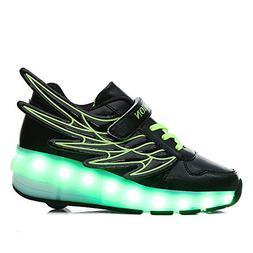 zgshnfgk LED Fashion Sneakers Kids Girls Boys Light Up Wheel