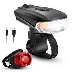 LED USB Rechargeable Smart Bike Light Set, ZOKER Super Brigh