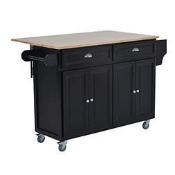 HOMCOM Wood Top Drop-Leaf Rolling Kitchen Island Table Cart