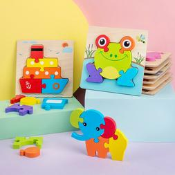 Wooden Jigsaw Puzzles For Toddlers Kids Montessori Early Edu